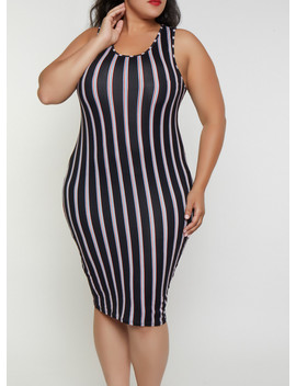 Plus Size Soft Knit Striped Midi Tank Dress | 3390074281163 by Rainbow