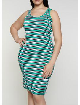 Plus Size Rib Knit Striped Midi Tank Dress by Rainbow