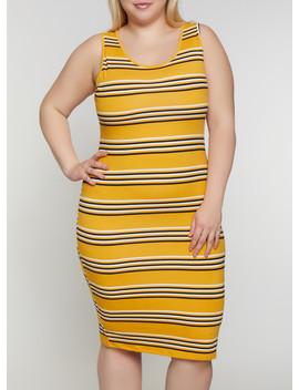 Plus Size Striped Tank Dress | 0390073372901 by Rainbow