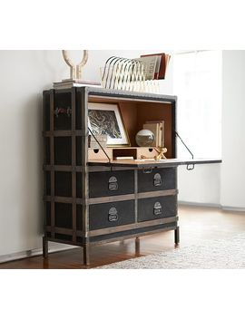 Ludlow Trunk With Stand Secretary Desk, Black by Pottery Barn