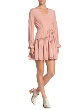 Alia Silk Long Sleeve Flounce Dress by Allsaints