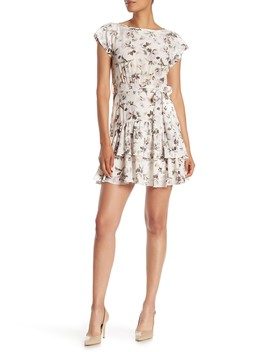 Sofia Short Sleeve Floral Print Silk Dress by Rebecca Taylor