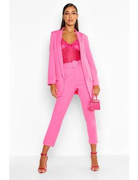 Self Belt Tailored Trouser by Boohoo