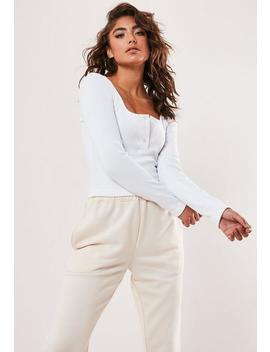 White Rib Button Front Crop Top by Missguided