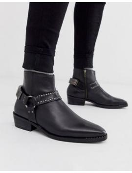 Asos Design – Chelsea Stiefel Aus Schwarzem Leder Mit Kubanischem Absatz Im Western Stil, Ziernieten Und Metallbeschlag by Asos