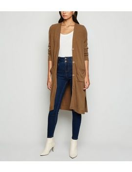 Camel Button Up Midi Cardigan by New Look