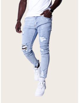 Men Ripped Skinny Jeans by Sheinside