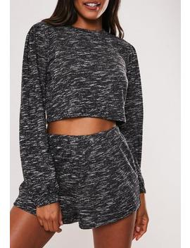 Dark Grey Snit Long Sleeve Short Pyjama Set by Missguided