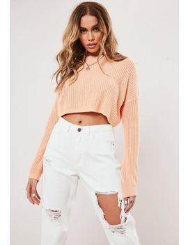 Peach Basic Super Cropped Knitted Jumper by Missguided