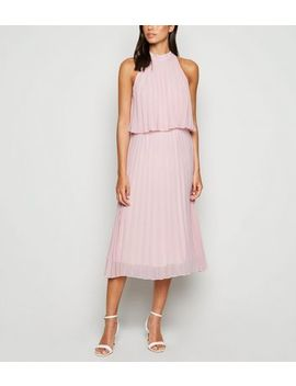Pale Pink Halterneck Pleated Midi Dress by New Look