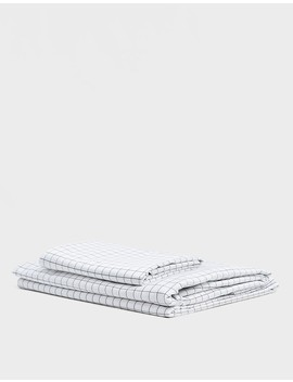 Classic Queen Core Sheet Set In Graphite Grid by Brooklinen