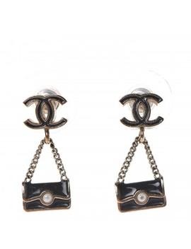 Chanel Enamel Pearl Cc Flap Bag Drop Earrings Black Gold by Chanel