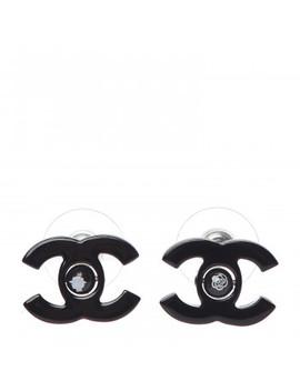 Chanel Resin Cc Mademoiselle Earrings Black by Chanel