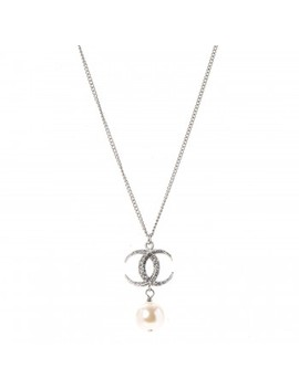 Chanel Crystal Cc Pearl Drop Necklace Silver by Chanel