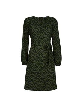 Khaki Printed Pleat Dress by Dorothy Perkins
