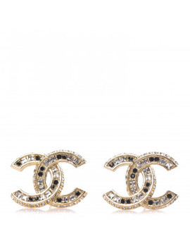 Chanel Baguette Crystal Cc Earrings Gold Black by Chanel