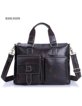 Men's Genuine Leather Handbag Tote High End Business Briefcase Messenger Laptop Case Vintage Crossbody Bag Brown Shoulder Bags by Ali Express.Com