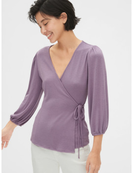 Softspun Blouson Sleeve Wrap Top by Gap
