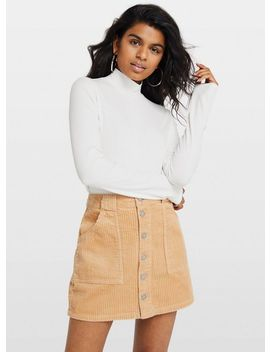 Petite Camel Cord Skirt by Miss Selfridge