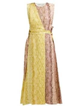 Python Print Linen Panelled Midi Dress by Emilia Wickstead