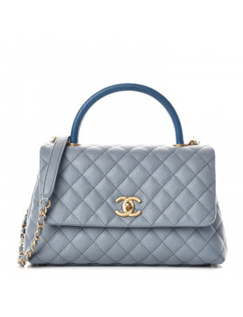 Chanel Caviar Lizard Quilted Small Coco Handle Flap Blue by Chanel