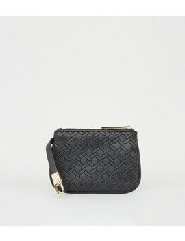 Black Leather Look Monogram Coin Purse by New Look