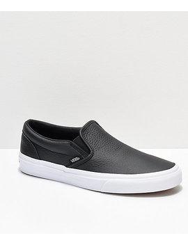 Vans Slip On Black Tumbled Leather Skate Shoes by Vans