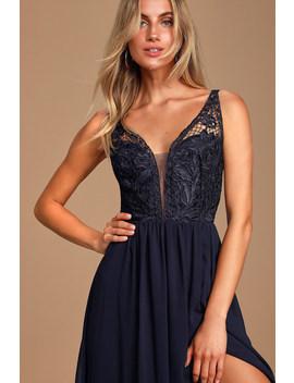 Melvina Navy Blue Lace Chiffon Maxi Dress by Lulus