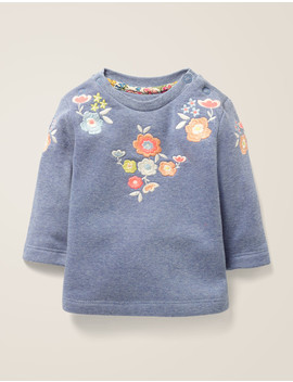 floral-embroidered-sweatshirt---elizabethan-blue-marl by boden