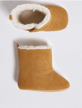 Baby Leather Sheepskin Style Boots (0 18 Months) by Marks & Spencer