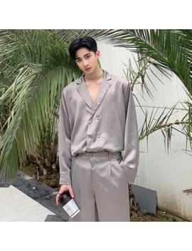 Men 2 Pcs Sets (Shirt+Pants) Male Vintage Fashion Long Sleeve Loose Casual Shirt Style Suit Jacket Streetwear Wide Leg Trousers by Ali Express.Com