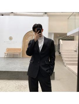 Men Streetwear Hip Hop Punk Rivet Casual Slim Fit Suit Blazer Jacket Male Vintage Fashion Suit Coat Spring Autumn Overcoat by Ali Express.Com