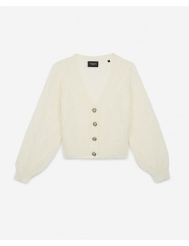 White Cropped Wool Cardigan Puffed Sleeves by The Kooples