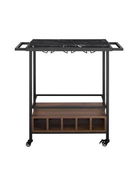 34 In. Black Marble Serving Bar Cart With Dark Walnut Base by Walker Edison Furniture Company