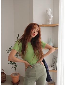Short Sleeve Ribbed T Shirt by Stylenanda