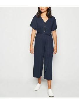 Petite Navy Ribbed Button Up Jumpsuit by New Look
