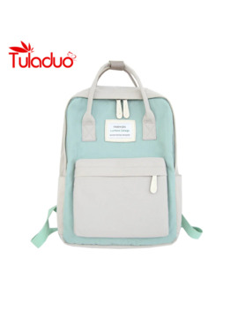 Women Hot Canvas Backpacks Candy Color Waterproof School Bags For Teenagers Girls Laptop Backpacks Patchwork Backpack New 2019 by Ali Express.Com
