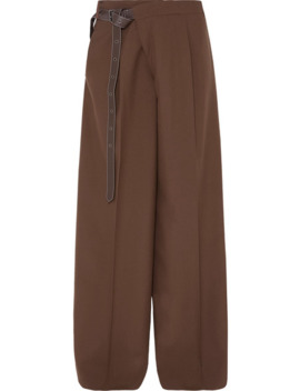 Leather Trimmed Wool Wide Leg Pants by Marni