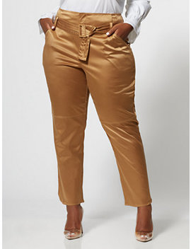 Carine Satin Belted Pant by Fashion To Figure