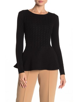 Cable Knit Cashmere Peplum Sweater by The Cashmere Project