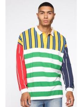 Hundo Long Sleeve Polo   Multi Color by Fashion Nova