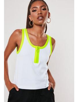 White Neon Contrast Zip Front Vest by Missguided