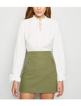 Blue Vanilla Olive Zip Front Mini Skirt by New Look