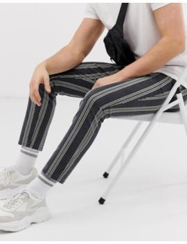 Asos Design   Pantalon Ajusté Longueur Cheville à Rayures écrues   Noir Délavé by Asos Design