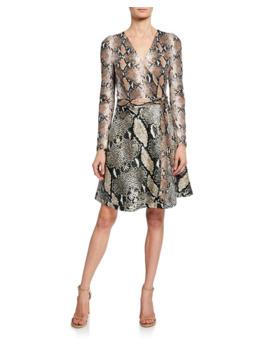 Diane Von Furstenberg Amelia Python Long Sleeve Wrap Dress by Diane Von Furstenberg