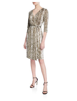 Diane Von Furstenberg Julian Two Python Print 3/4 Sleeve Wrap Dress by Diane Von Furstenberg