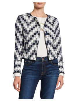 Oscar De La Renta Cropped Checkered Long Sleeve Jacket by Oscar De La Renta