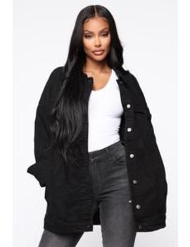 Cassie Denim Jacket   Black by Fashion Nova