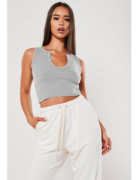 Grey Notch Neck Sleeveless Crop Top by Missguided