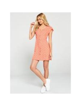 Polka Dot Skater Dress   Coral by Oasis